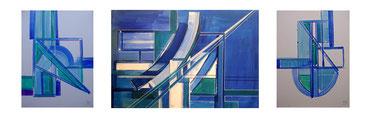 Architektur,Acryl auf Leinwand,3 teilig, Mitte 40x60 cm, rechts und links 40x30 cm