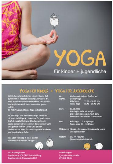 Druckatelier46 - Gestaltung Flyer Yoga für Kinder und Jugendliche