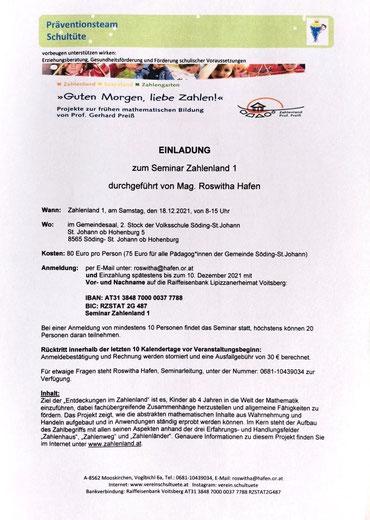 """23.09.2021: Einladung zum Seminar zur frühen mathematischen Bildung: """"Zahlenland 1"""", organisiert vom Verein Schultüte an der Volksschule St. Johann ob Hohenburg."""