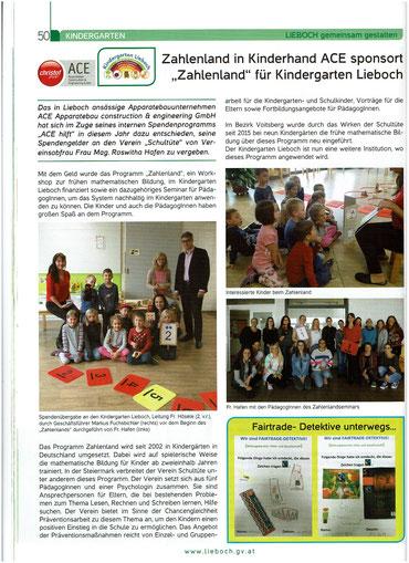 Die Firma ACE berichtet in der Liebocher Nachrichten von der von ihnen gesponserten Umsetzung vom Workshop und dem Seminar im Kindergarten Lieboch.
