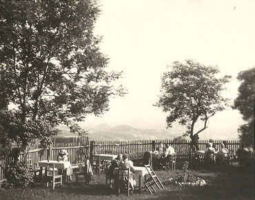Ein Blick auf den alten Gastgarten in Kalkleiten
