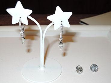 もっと豪華なピアスにしたいというご希望。手持ちのダイヤをピアスのチャームにします。