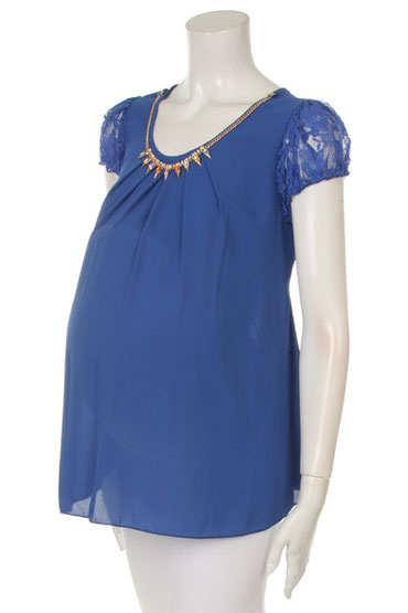 short sleeve maternity top blue