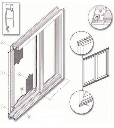 Despiece detallado de las mosquiteras correderas de aluminio