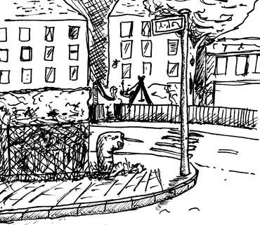 Eine Straßenecke in Hamburg, an der der Weltenwurm versteinert wacht oder blickt. Angeblich befindet sich hier ein geheimer Zugang nach Immerda. Funfact: der Ort ist in Hamburg real. In welchem Stadtteil ist er zu finden?