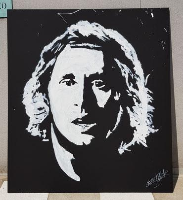 Live painting par le peintre Erik Black - portrait de Luka Modric en peinture