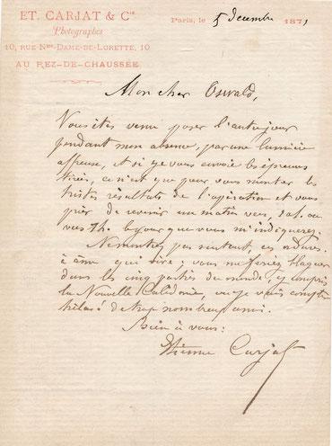 Lettre autographe signée Etienne Carjat photographie