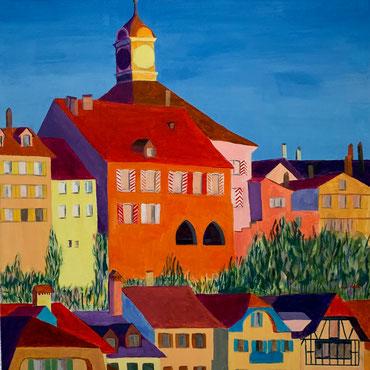 Murten mit Rathaus 60 x 60 cm Acryl/Oel