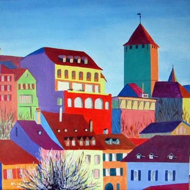 Murten mit Schloss 60 x 60 cm v