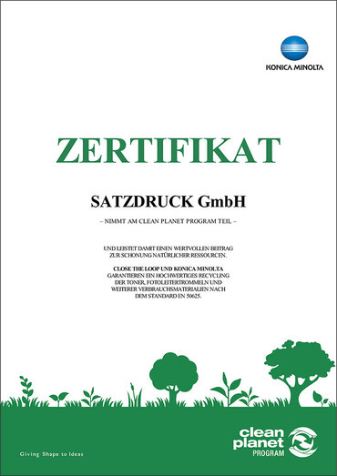Druckerei SATZDRUCK erhält Zertifikat Clean Planet – Konica Minolta