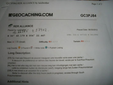 RER Alliance - la fiche descriptive de la cache
