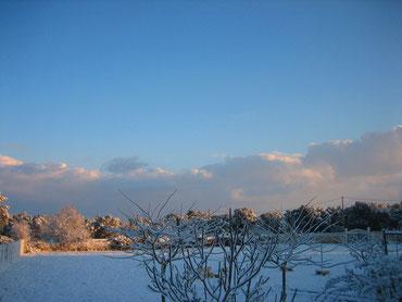 Unsere Nordwiese - von Schnee bedeckt ! (Jahreswechsel 2014/2015)