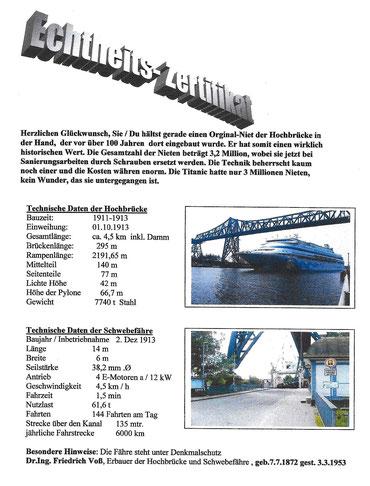 Techn. Daten der Hochbrücke u. der Schwebefähre