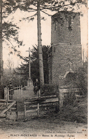 L'église de Placy-Montaigu (carte postale de 1909)