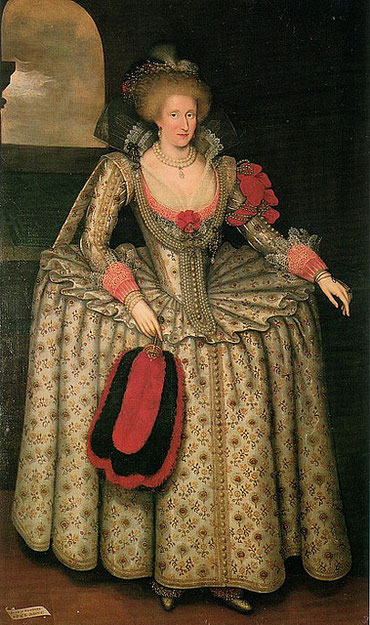 Anne of Denmark (1574-1619) loved lavish clothing and remained faithful to the at that time not longer fashionable WHEEL FARTHINGALE. ->look at her delicate lace cuffs! (flickr, picture by Lisby)