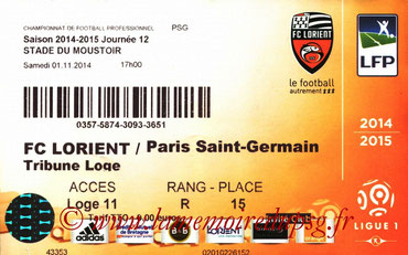 Ticket  Lorient-PSG  2014-15