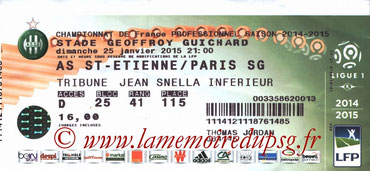 Ticket  Saint Etienne-PSG  2014-15