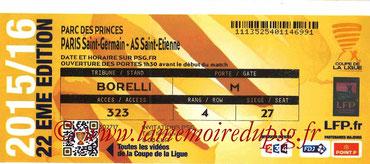 Ticket  PSG-Saint Etienne  2015-16