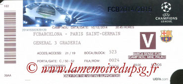 Ticket  Barcelone-PSG  2014-15