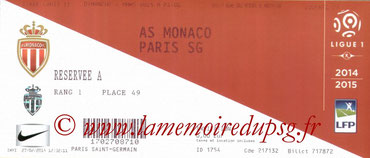 Ticket  Monaco-PSG  2014-15
