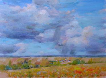 CIEL BLEU DE CHAMPAGNE (huile sur toile) 60 x 81 cm JF.Millan