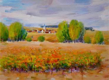 CHAMPAGNE DOREE (huile sur toile) 73 X 100 cm JF.Millan