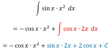 Lösung der Beispielaufgabe für mehrfache partielle Integration