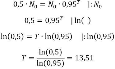 Lösung des Beispiels zur Berechnung der Halbwertszeit.