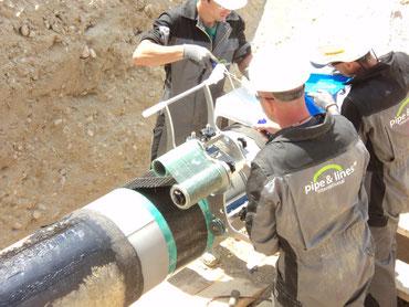 Aufbringen der PCW Carbon Bandage mit spezieller Wickelvorrichtung