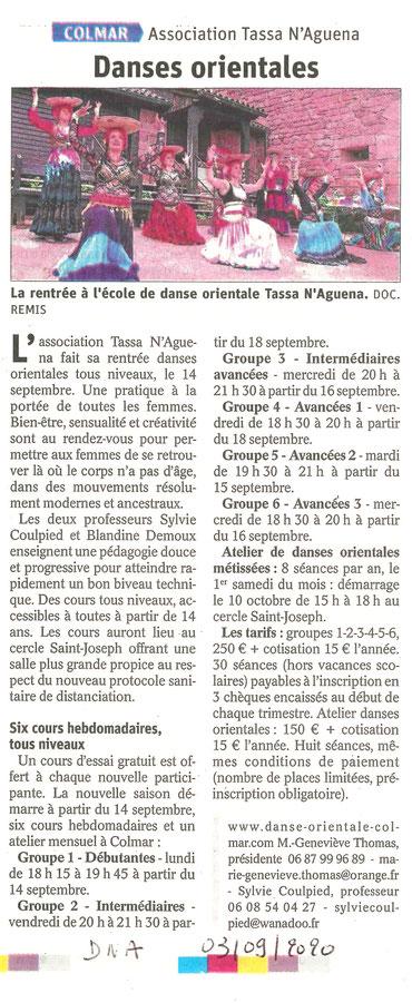 Article paru dans les DNA, le 03/09/2020