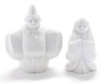 九谷焼 雛人形 お雛様 ホワイト立雛 4号 裏書き