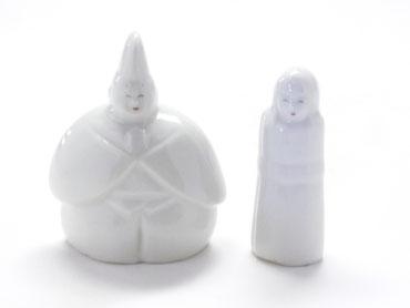 九谷焼 雛人形 お雛様 ホワイト立雛 2.8号 裏書き