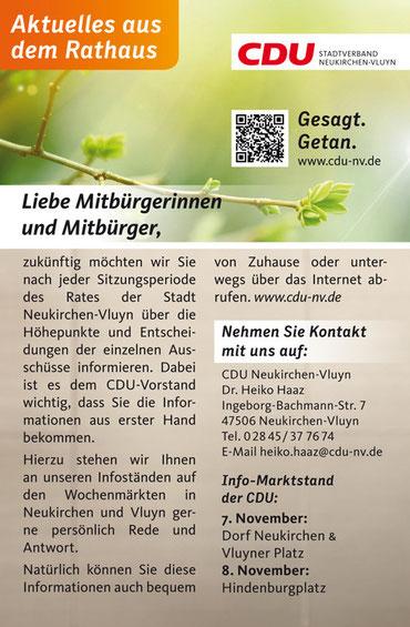 Aktuelles aus dem Rathaus | CDU Neukirchen-Vluyn
