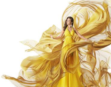 Versandreinigung-mueden.de, Brautkleider, Bild von gelbem Kleid, Reinigungsverfahren