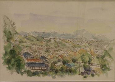 平群から眺める奈良 水彩 8号