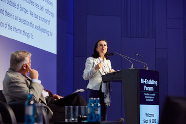 Inmaculada Placencia-Porrero is giving the keynote at the second M-Enabling Forum Europe.