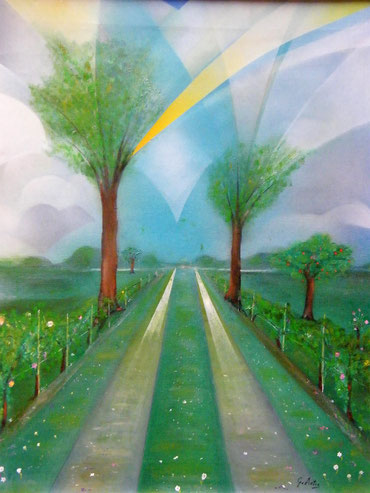 """""""Pioggia d'agosto"""", di Gianpiero Actis - 2012, acrilici su tela 50x40, collezione privata"""