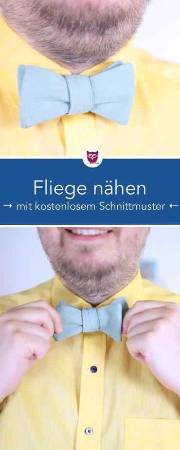 Nähen für Männer: Fliege zum Binden nähen mit kostenlosem Schnittmuster - Nähen für die Hochzeit / DIY Geschenke für Männer. Nähanleitung und Video von DIY Eule.