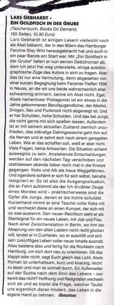 Lars Gebhardt Goldfisch in der Grube Buchkritik Punkrock! Magazin #19 (März 2014)