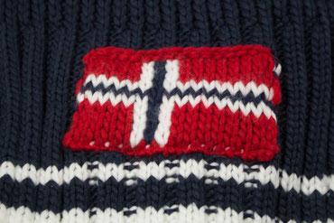 Strickschal blau mit Norwegen Flagge