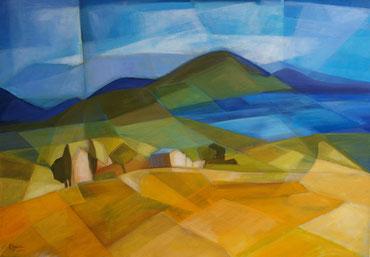 Landschaft, Acryl auf Leinwand, 70 x 100 cm, 2015