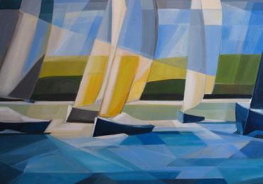 Blue sailing-boats, Acrylauf Leinwand, 70 x 100 cm, 2015