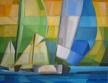 Blaues Segel, Acryl auf Leinwand, 70 x 90 cm, 2014