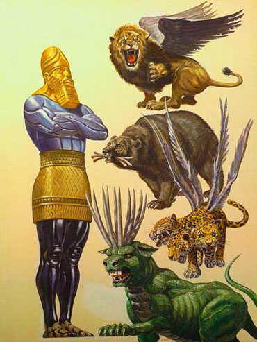 La 1ère bête est un lion ailé, l'Empire babylonien, la tête en or de la statue dans la vision de Nébucadnetsar. La 2ème bête est un ours affamé, l'Empire médo-perse, poitrine et bras en argent de la statue. La 3ème bête est un léopard ailé à 4 têtes.