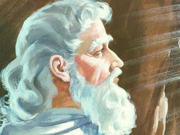 Moïse descend de la montagne de Sinaï, ayant dans sa main les deux tables du témoignage, et il ne sait pas que la peau de son visage est devenue rayonnante pendant qu'il parlait avec Jéhovah. Les Israélites ne peuvent pas fixer les regards sur son visage.
