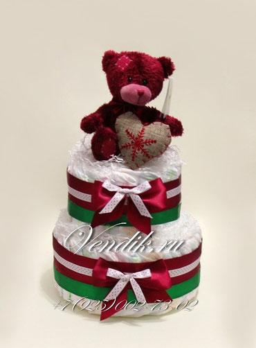"""Торт из памперсов """"Рождественский медвежонок """""""