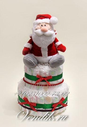 """Торт из памперсов """"Дедушка Мороз """""""