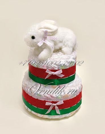 """Торт из памперсов """"Заинька беленький"""" - подарок на Новый Год или Рождество."""