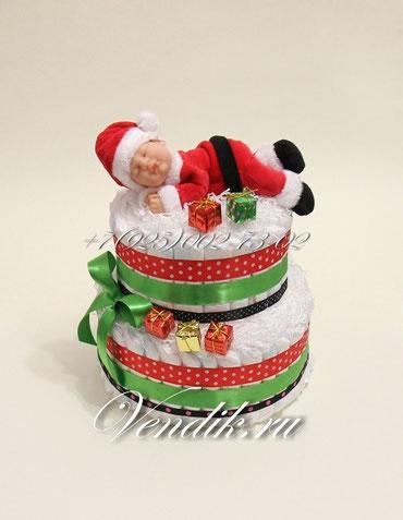 """Торт из памперсов на Новый год или Рождество """" Маленький Санта """""""