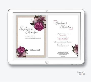 faire-part mariage numérique-faire part mariage digital-faire part numérique-pdf numérique-faire part mariage electronique -faire-part à envoyer par mms-par mail-réseaux sociaux-whatsapp-facebook-messenger-Pivoine-kraft-bouquet de fleurs-coloré-rafiné